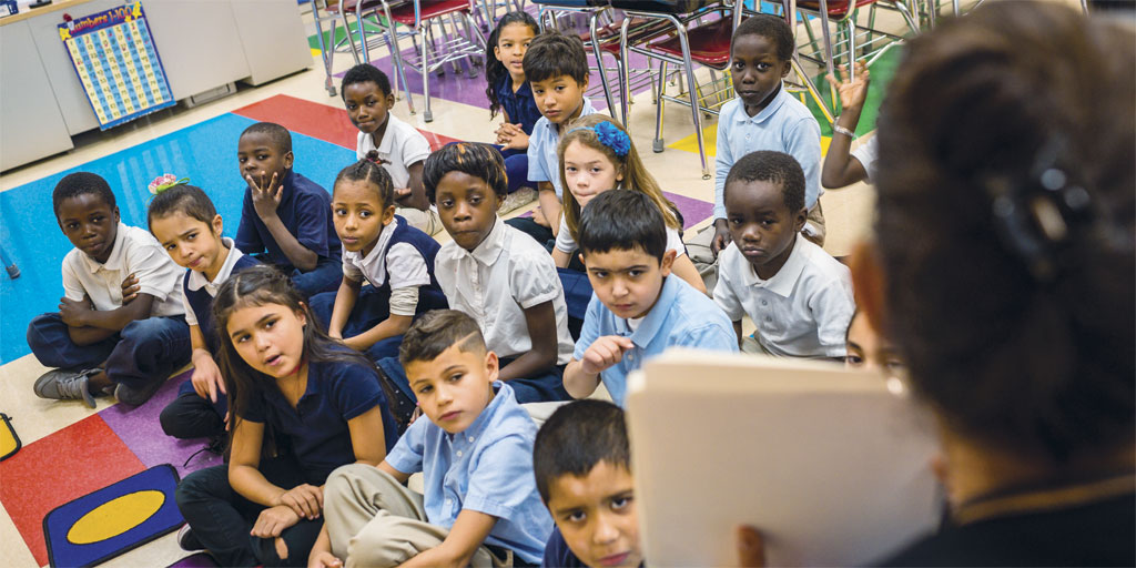 Schoolchildren at Thomas Jefferson International Newcomers Academy
