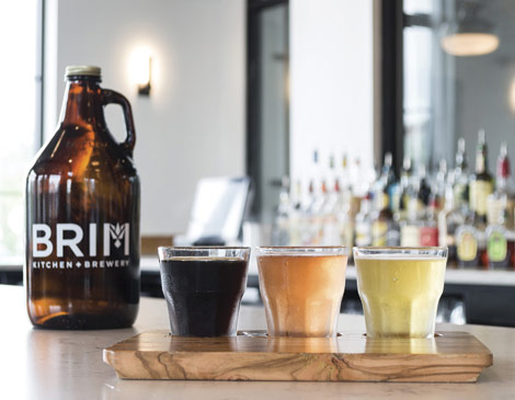 Beer flight at Brim Kitchen & Brewery