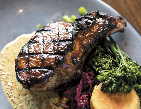 Kingfish's maple-glazed Duroc pork chop