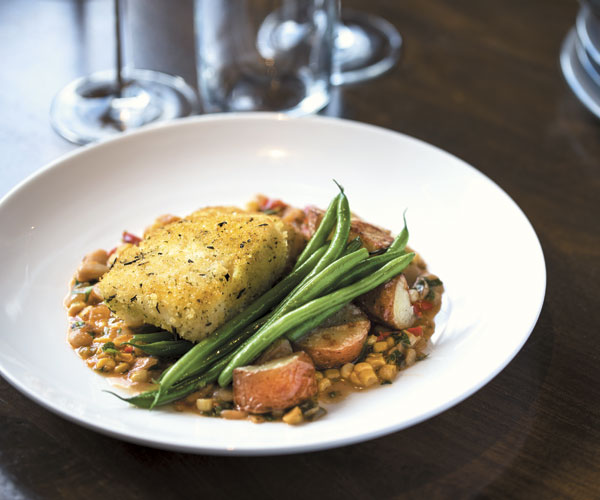 Kingfish's herb-crusted day boat cod