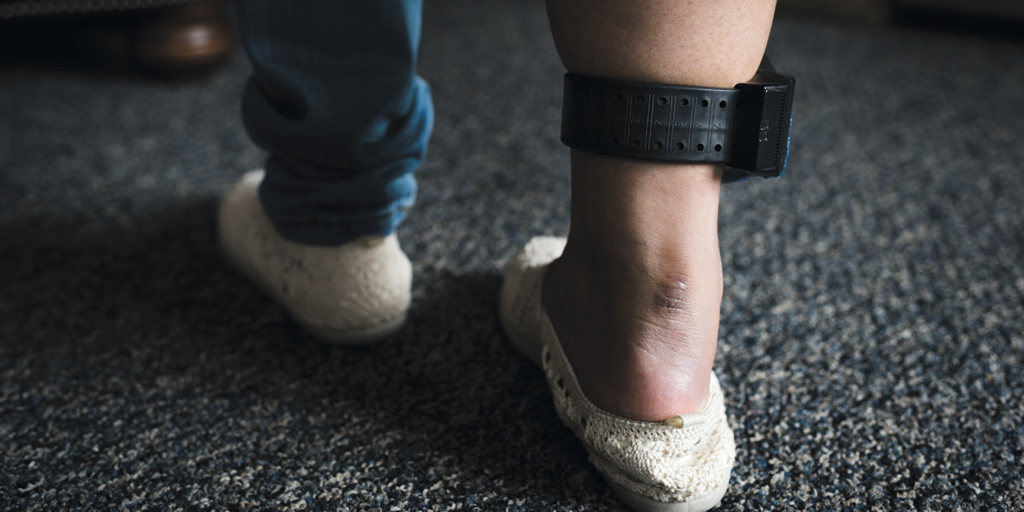 GPS monitor on Leonor's ankle