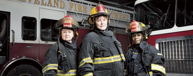 Lt. Justina Saxby, Battalion Chief Deberra Schroeder and Lt. Daphne Tyus