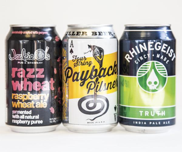 Payback Pilsner, Razz Wheat, Rhinegeist Truth IPA